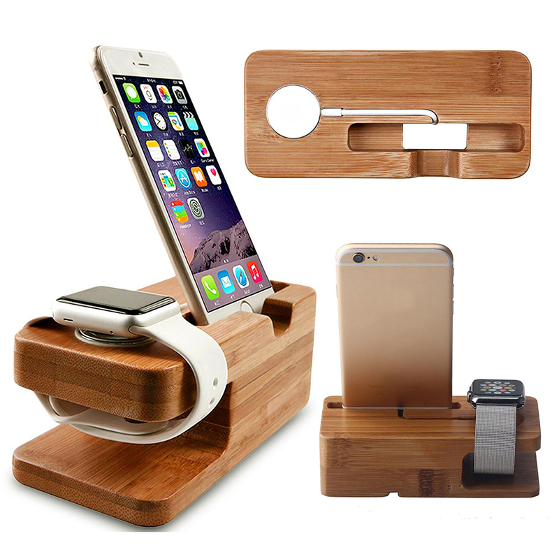 Bamboo Wood Station for Apple Watch & iPhone