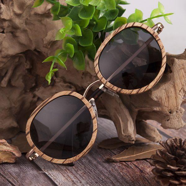 Zebra Wooden Bamboo Polaroid Sunglasses
