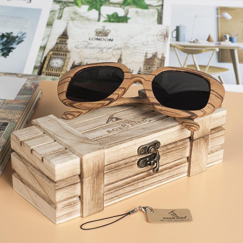 Wooden Bamboo Sunglasses Zebra