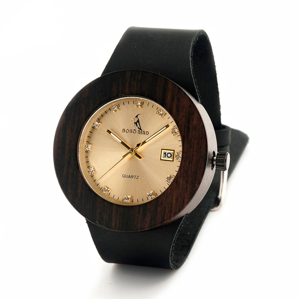 Retro Wooden Gold Watch