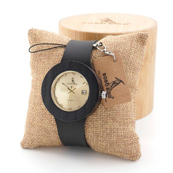 Retro Wooden Gold Watch