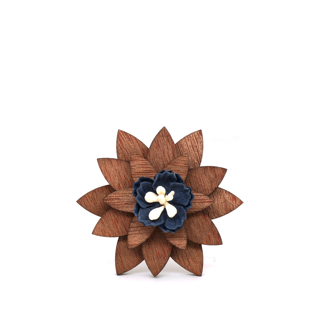 Wooden Lapel Brooch L01