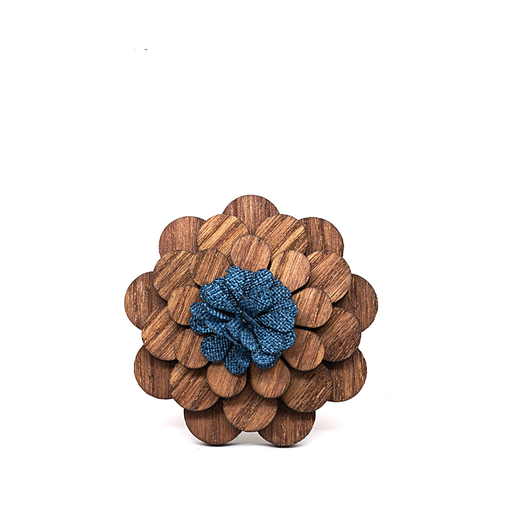 Wooden Lapel Brooch L02
