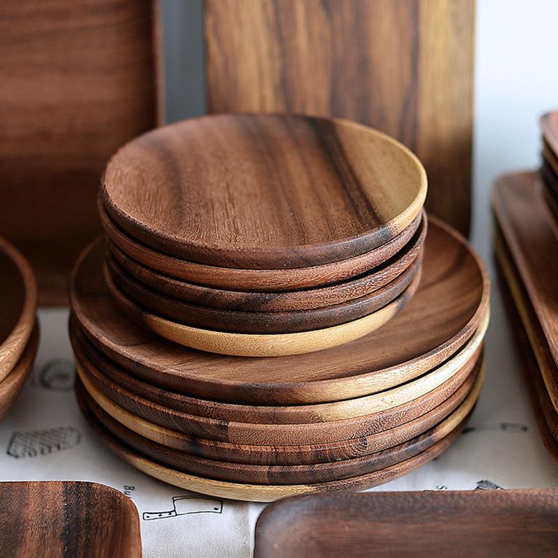 Round Acacia Wood Plates
