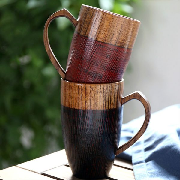 Set of 2 Natural Wood Mugs