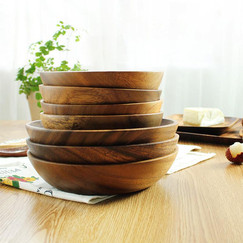 Large Round Acacia Wood Salad Bowl
