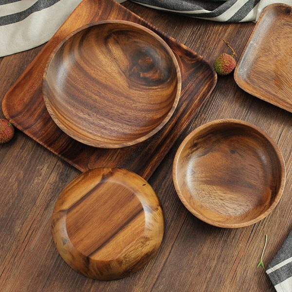 Large Round Acacia Wood Salad Bowl