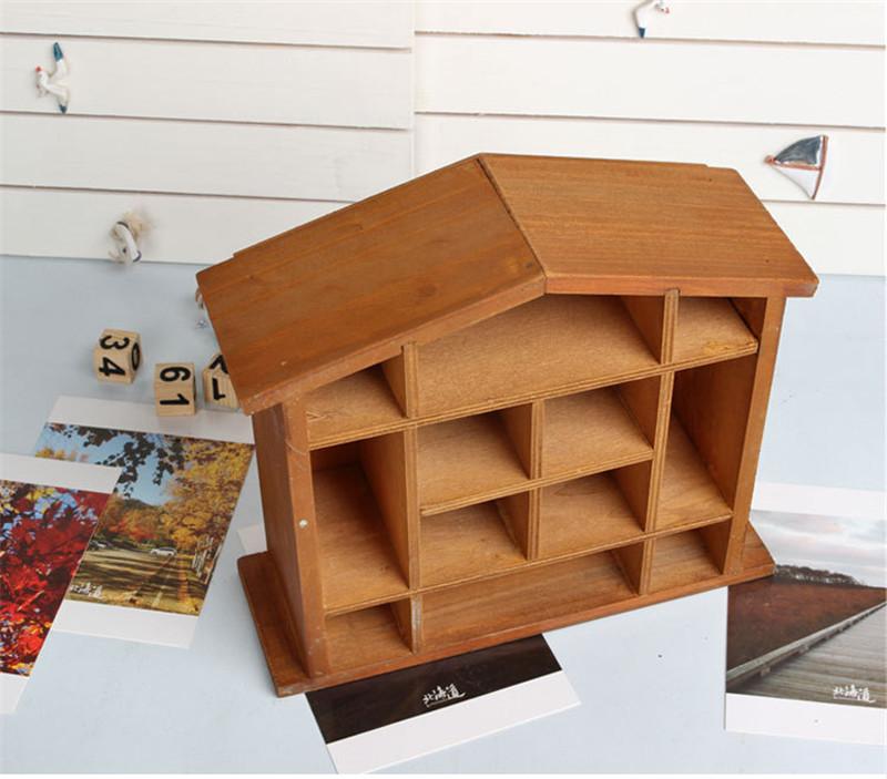 Wooden Grid Wall Shelf
