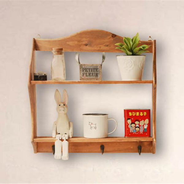 Solid Wood Vintage Wall Shelf